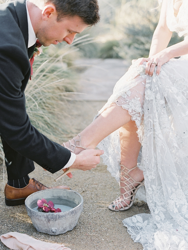 Foot Washing Tradition | Elegant Tuscan Inspired Elopement by Gaby J Photography