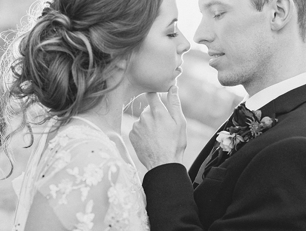 Black and White Bride and Groom Portrait   Elegant Tuscan Inspired Elopement by Gaby J Photography