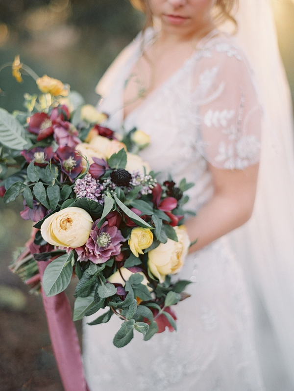 Purple and Yellow Bouquet | Elegant Tuscan Inspired Elopement by Gaby J Photography