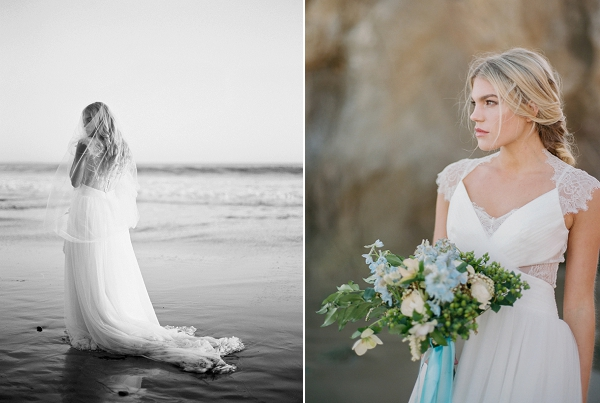 Blue and White Bouquet | Malibu Seaside Inspired Bridal Editorial by Jeremy Chou Photography