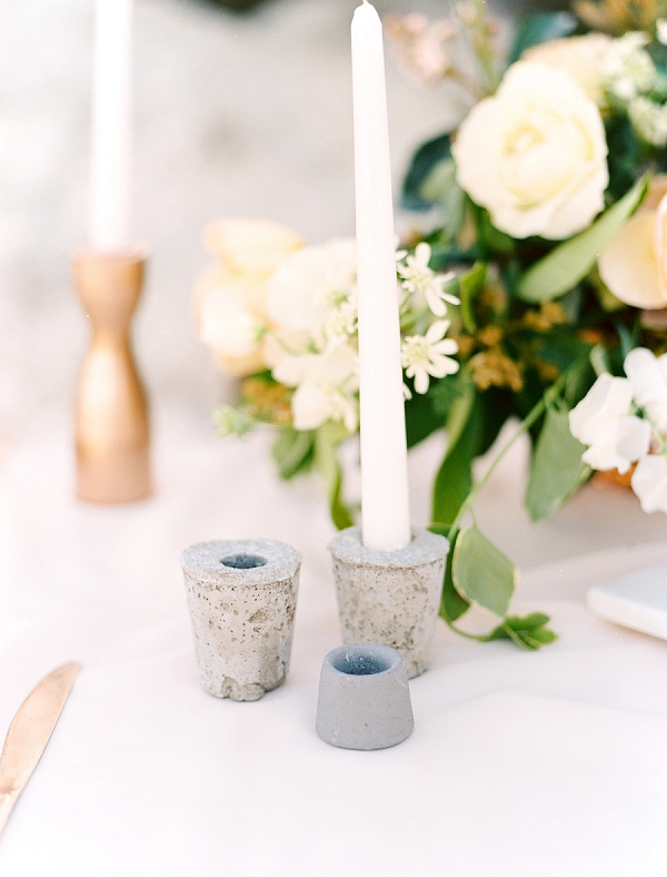 Concrete Candle Holders | Rustic and Organic Wedding Inspiration from Keestone Events and Ben Q Photography