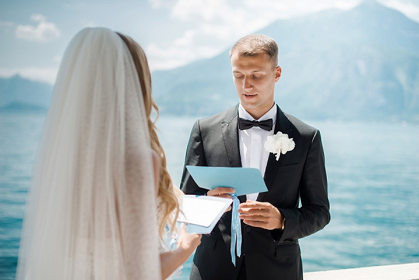 Bride and Groom Exchanging Vows | A Sunny Wedding Celebration In Lake Como from WeddItaly and Olena Galaziuk Photography