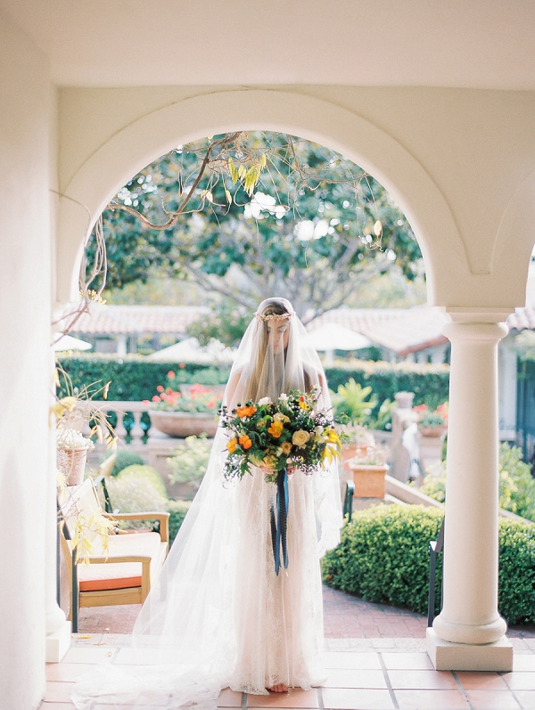 Bride with Bright Bouquet | Romantic Early Morning Bridal Inspiration by Kristin La Voie Photography