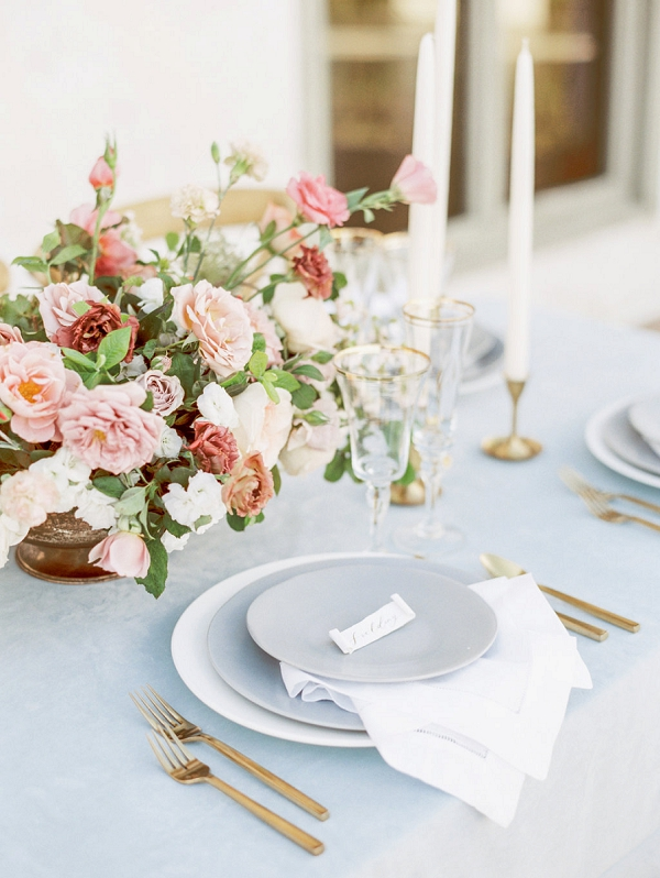 Centerpiece and Place Setting | Elegant Wedding Inspiration in an Old World Setting by Honey Gem Creative Photography