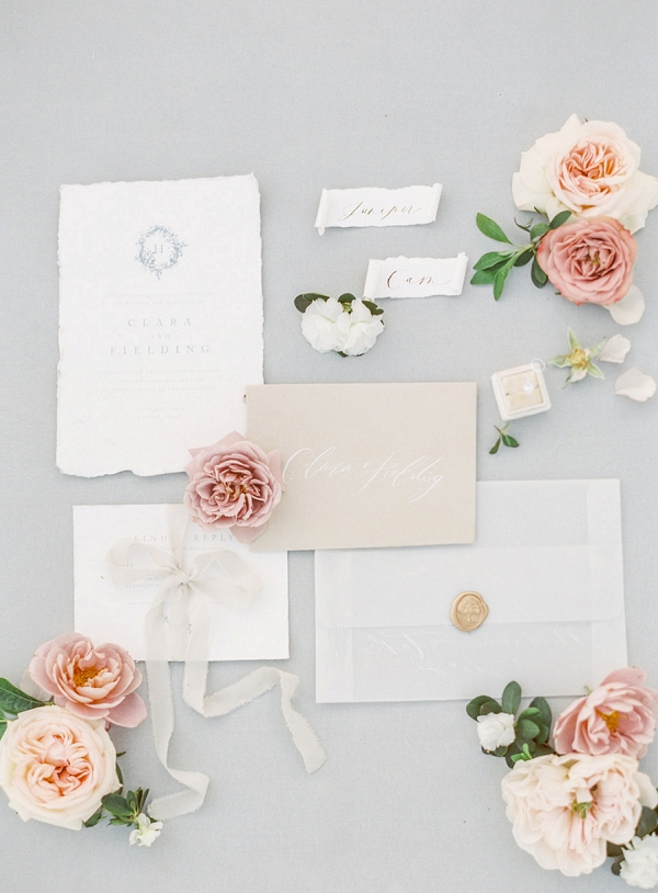 Invitation Suite with Calligraphy | Elegant Wedding Inspiration in an Old World Setting by Honey Gem Creative Photography