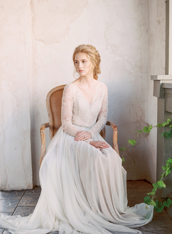 Bride in Lace Wedding Gown   Elegant Wedding Inspiration in an Old World Setting by Honey Gem Creative Photography