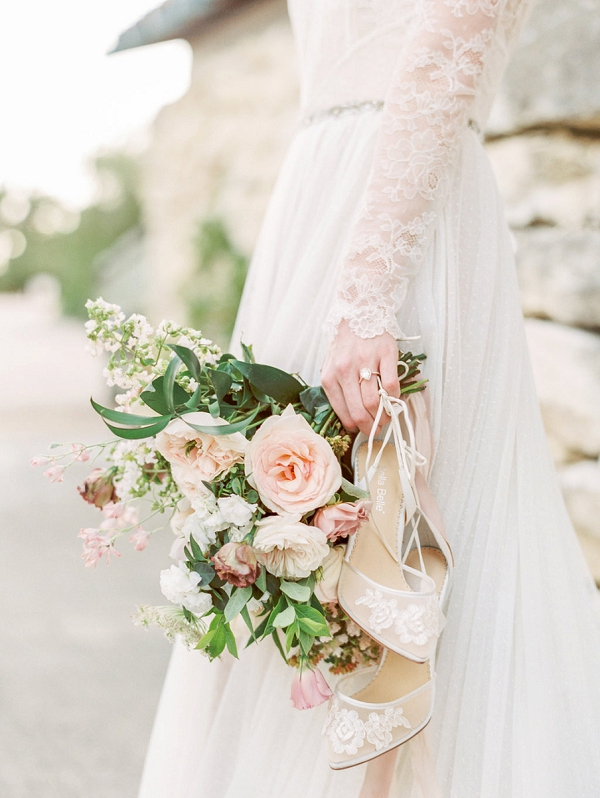 Bouquet and Wedding Shoes | Elegant Wedding Inspiration in an Old World Setting by Honey Gem Creative Photography