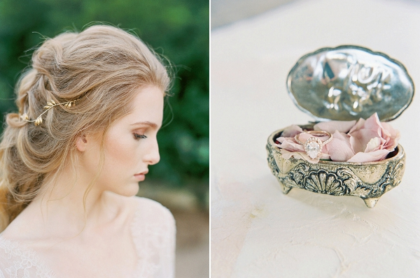 Wedding Ring in Vintage Jewelry Case | Elegant Wedding Inspiration in an Old World Setting by Honey Gem Creative Photography