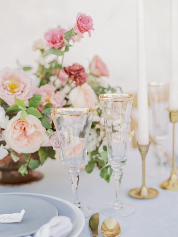 Gold Rimmed Glassware | Elegant Wedding Inspiration in an Old World Setting by Honey Gem Creative Photography
