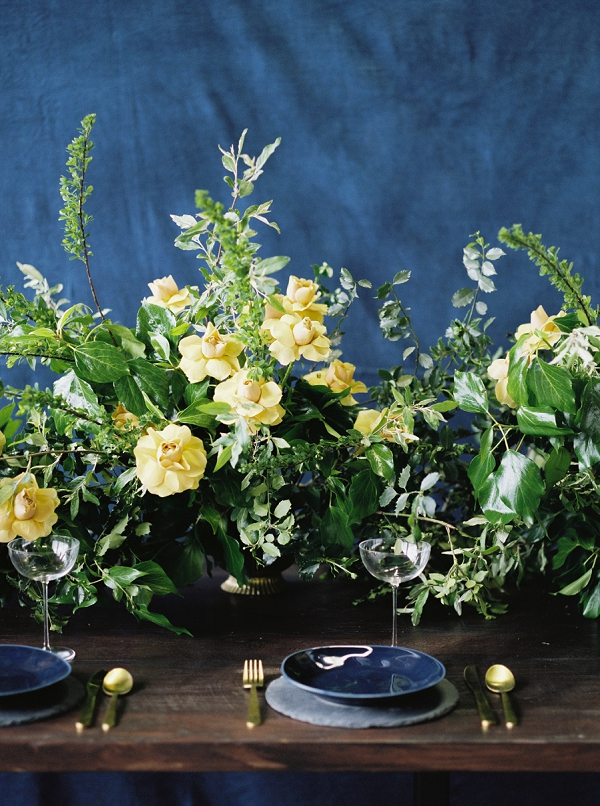 Floral Centerpieces | Moody and Romantic Indigo Wedding Inspiration by Jenna Powers