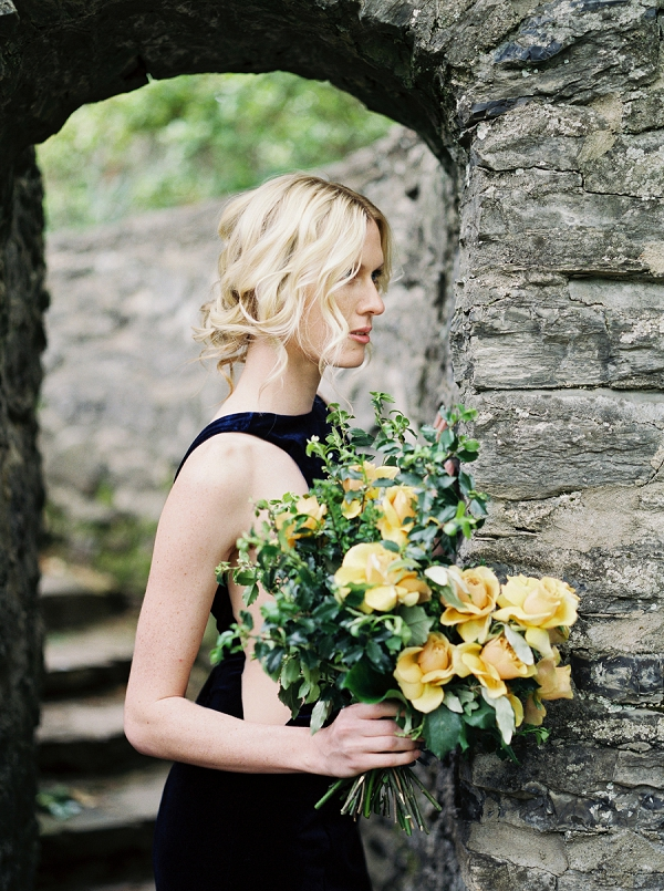 Bride with Bouquet | Moody and Romantic Indigo Wedding Inspiration by Jenna Powers
