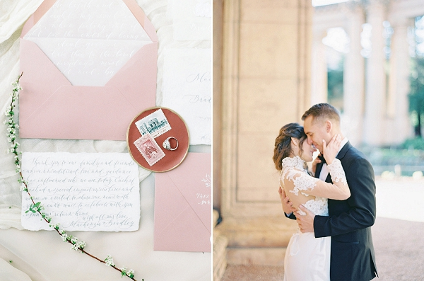 Affectionate Bride and Groom | Palace of The Fine Arts Elopement Ideas by Ivory & Vine Event Co. and Stephanie Brazzle Photography