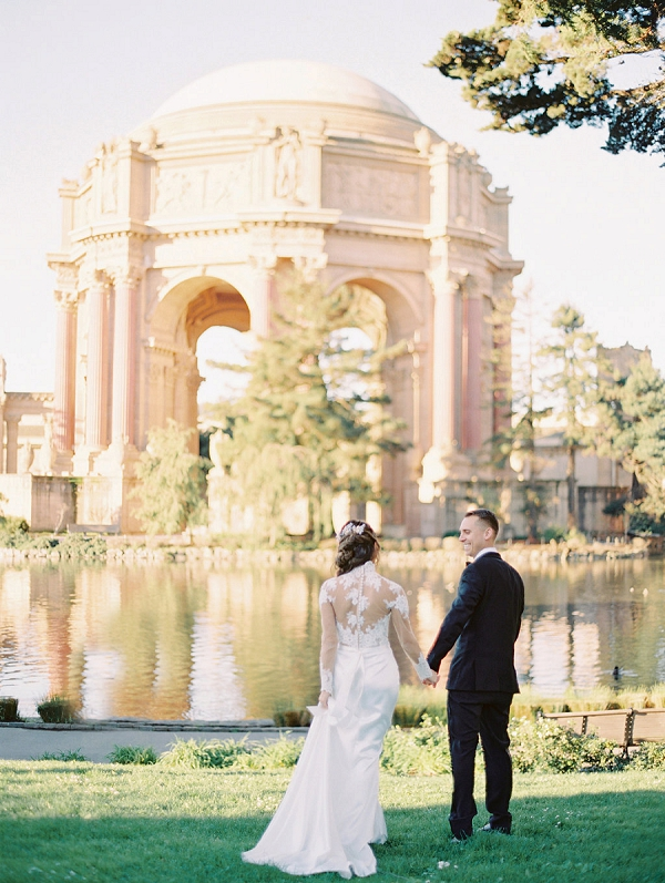 Bride and Groom | Palace of The Fine Arts Elopement Ideas by Ivory & Vine Event Co. and Stephanie Brazzle Photography