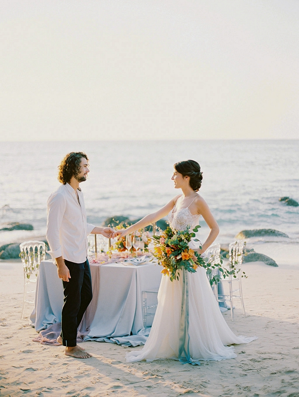 Beautiful Reception Set Up on the Beach | Tropical Elopement Inspiration by Steve Torres Photography