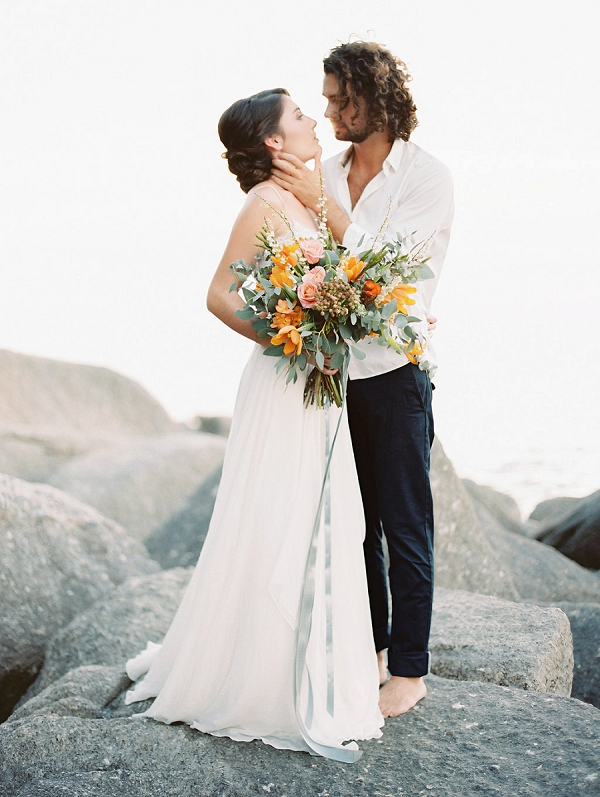 Bride and Groom Romantic Portrait | Tropical Elopement Inspiration by Steve Torres Photography