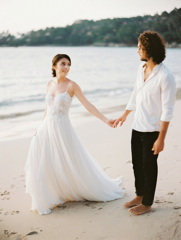 Destination Bride and Groom on Beach In Thailand | Tropical Elopement Inspiration by Steve Torres Photography