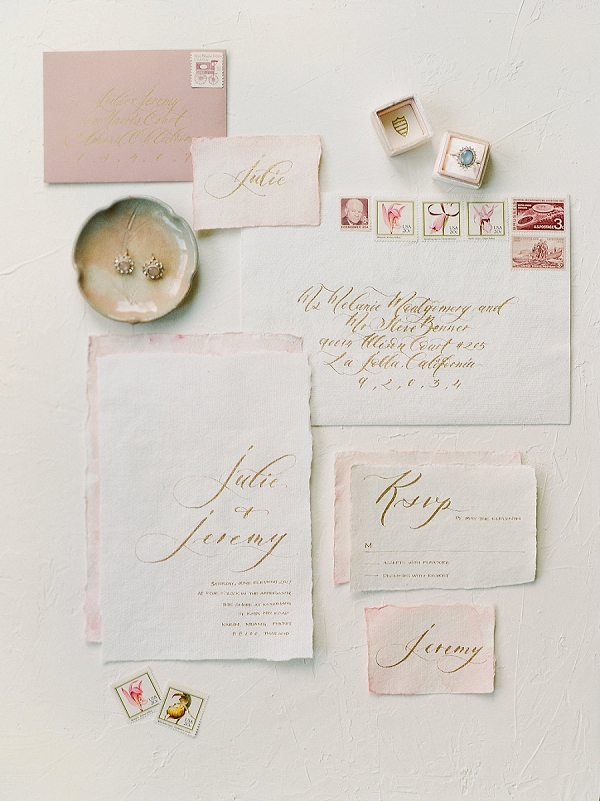 Calligraphy Wedding Invitations | Tropical Elopement Inspiration by Steve Torres Photography