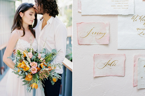 Bride and Groom | Calligraphy Place Cards | Tropical Elopement Inspiration by Steve Torres Photography