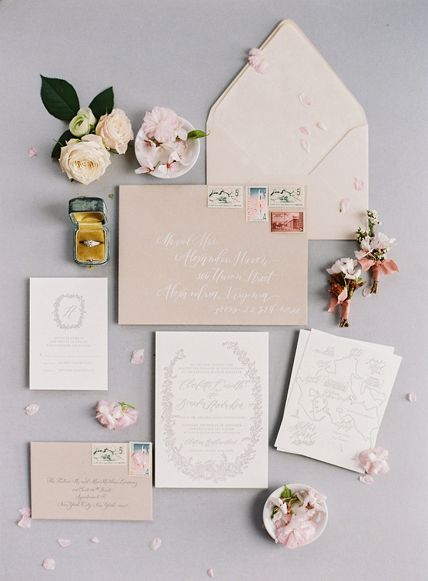 Elegant Wedding Invitation Suite | Cherry Blossom-Inspired Fine Art Wedding Ideas from Angela Newton Roy Photography