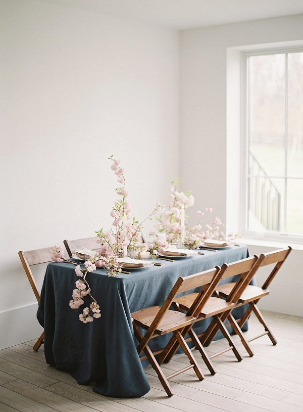 Indoor Tablescape | Cherry Blossom-Inspired Fine Art Wedding Ideas from Angela Newton Roy Photography