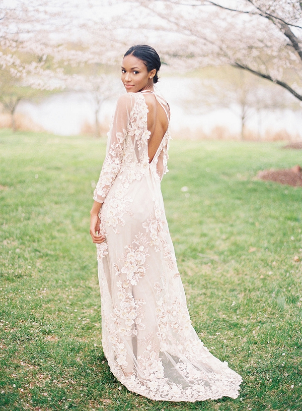 Romantic Wedding Dress | Cherry Blossom-Inspired Fine Art Wedding Ideas from Angela Newton Roy Photography