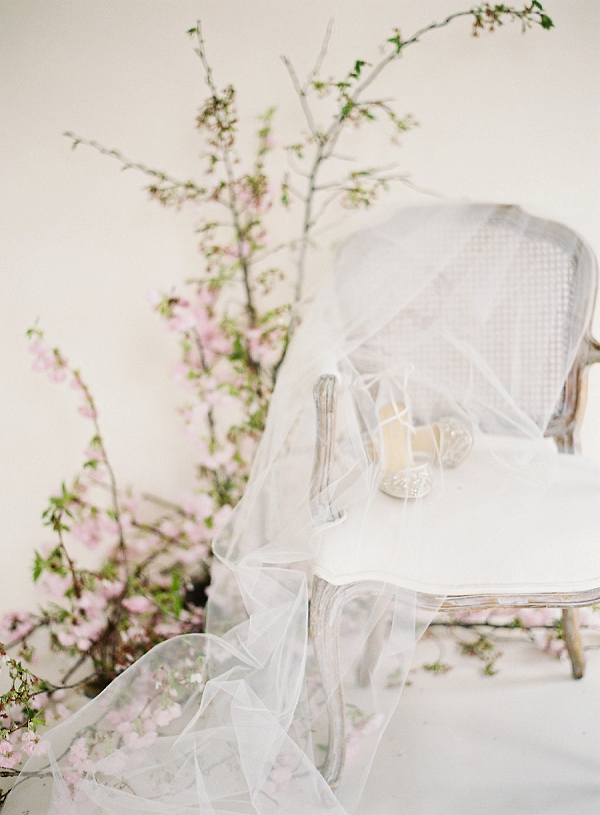 Bridal Shoes and Veil | Cherry Blossom-Inspired Fine Art Wedding Ideas from Angela Newton Roy Photography