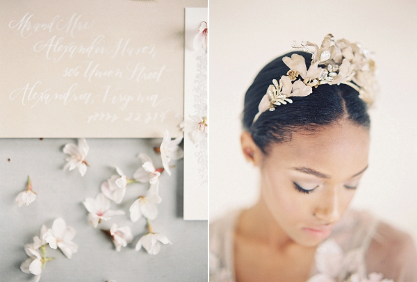Bridal Crown | Cherry Blossom-Inspired Fine Art Wedding Ideas from Angela Newton Roy Photography