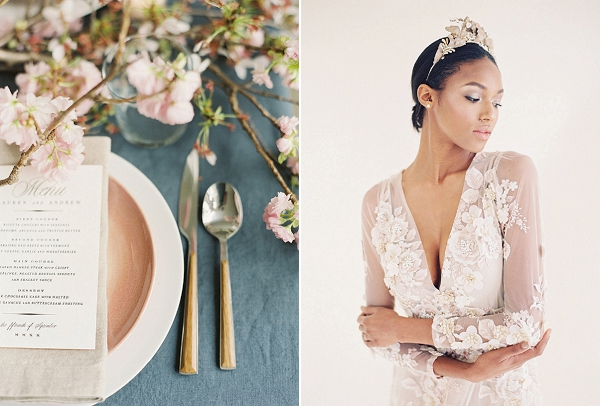 Place Setting | Cherry Blossom-Inspired Fine Art Wedding Ideas from Angela Newton Roy Photography