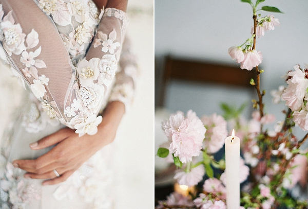 Wedding Dress Details | Cherry Blossom-Inspired Fine Art Wedding Ideas from Angela Newton Roy Photography
