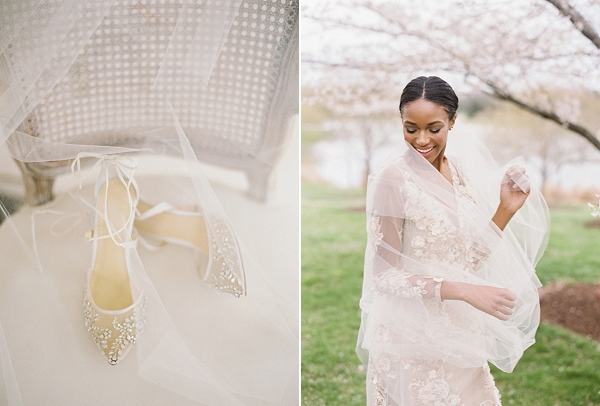 Bride with Veil | Cherry Blossom-Inspired Fine Art Wedding Ideas from Angela Newton Roy Photography