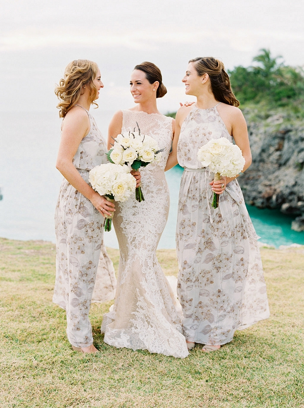 Bride with Bridesmaids in Floral Dresses | Glamorous Wedding Weekend in the Bahamas by Hunter Ryan Photography
