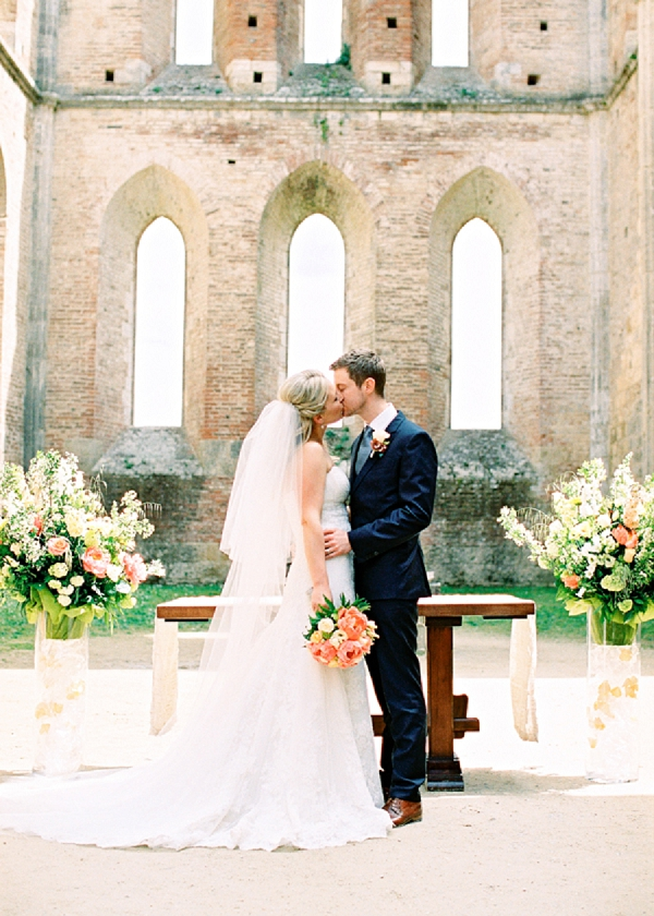 Bride and Groom Kiss | Intimate and Romantic Tuscany Destination Wedding by Kir & Ira Photography