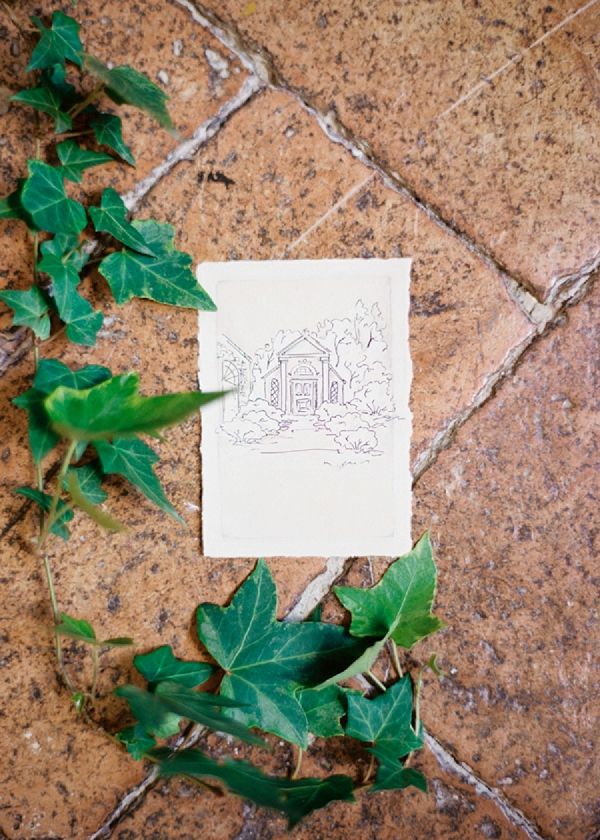 Wedding Stationery with Illustration | Intimate and Romantic Tuscany Destination Wedding by Kir & Ira Photography