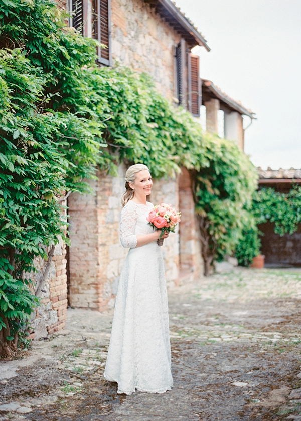 Bride with Peony Bouquet | Intimate and Romantic Tuscany Destination Wedding by Kir & Ira Photography