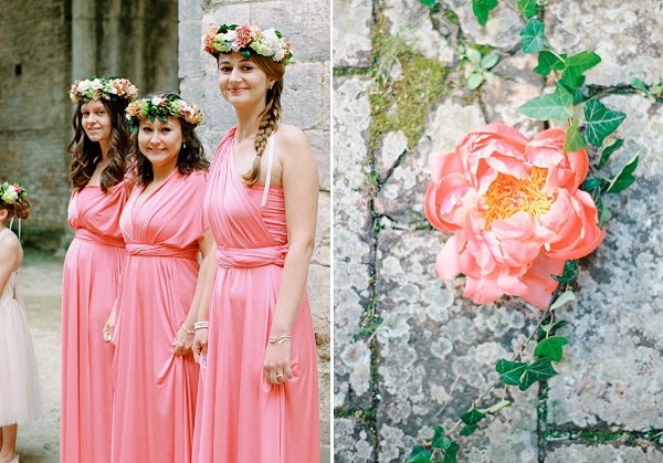 Bridesmaids in Coral Pink Dresses | Intimate and Romantic Tuscany Destination Wedding by Kir & Ira Photography