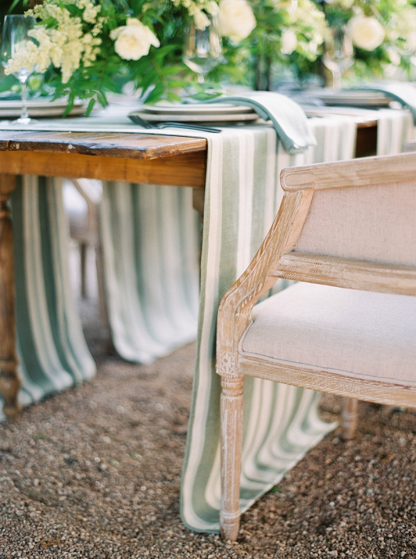 Striped Table Runners | Timeless Garden Wedding Elegance from Michelle Boyd Photography