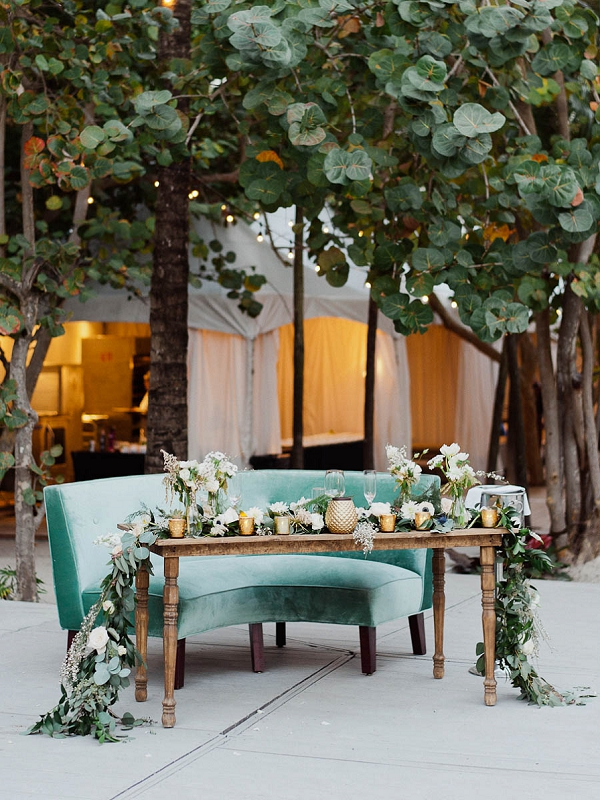 Stylish Sweetheart Table | Chic Art Deco Miami Wedding By Merari Photography