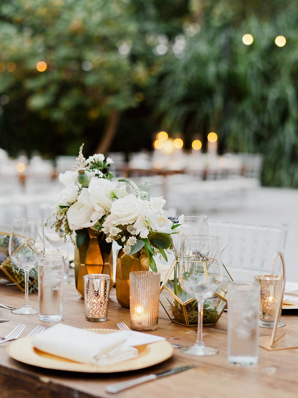 Modern Centerpieces | Chic Art Deco Miami Wedding By Merari Photography