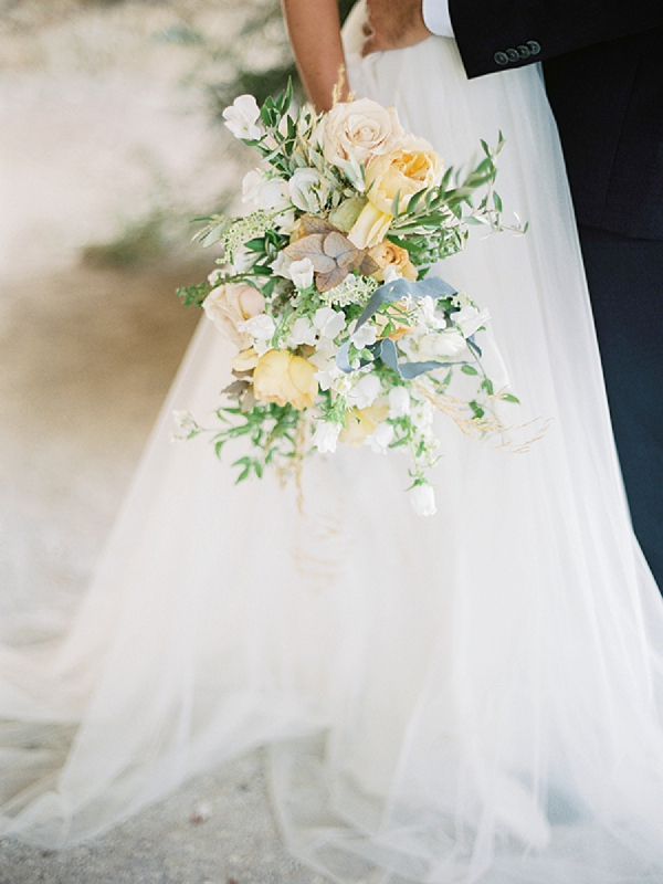 Yellow Bridal Bouquet | Elopement Inspiration at Methoni Castle, Greece | Elisabeth Van Lent Photography