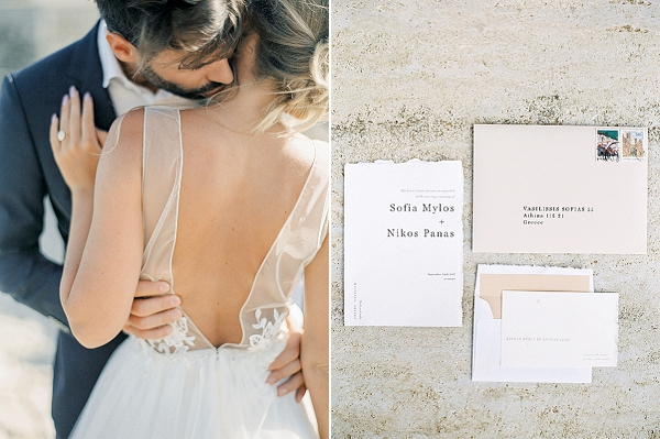Modern Wedding Invitations | Elopement Inspiration at Methoni Castle, Greece | Elisabeth Van Lent Photography