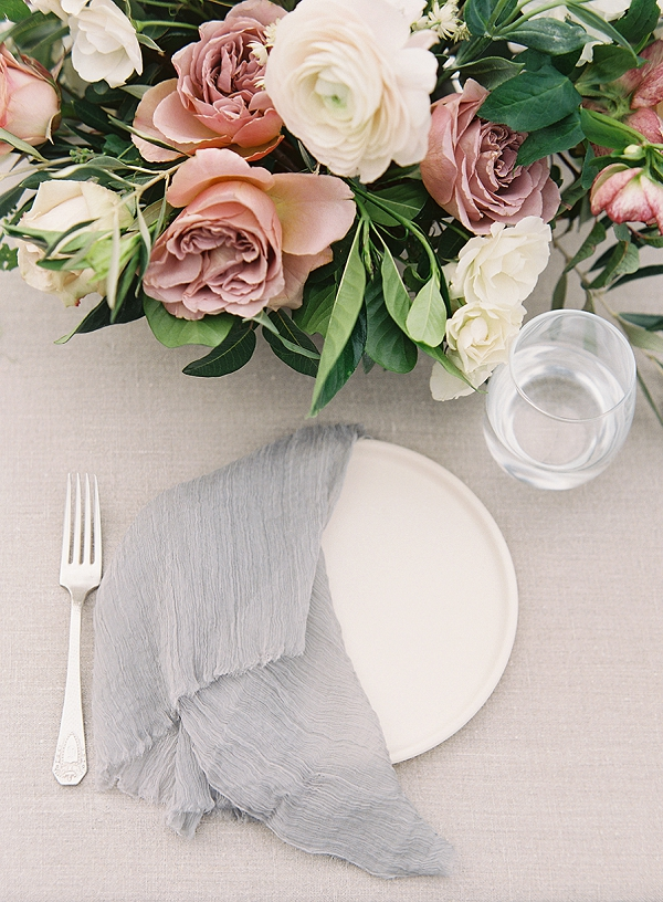 Place Setting | Romantic Floral Wedding Inspiration By Sara Weir Photography