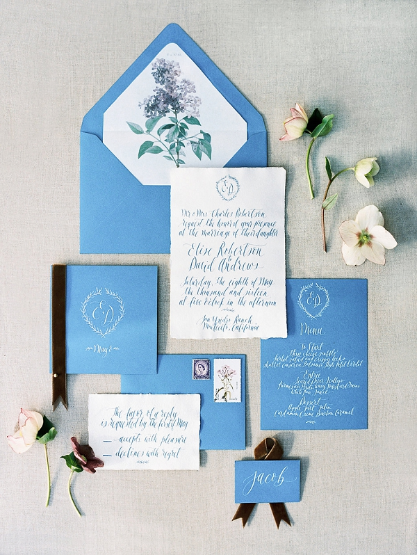 Calligraphy Wedding Invitation Suite | Classically Elegant Lavender Wedding Inspiration at San Ysidro Ranch by Jen Rodriguez Photography