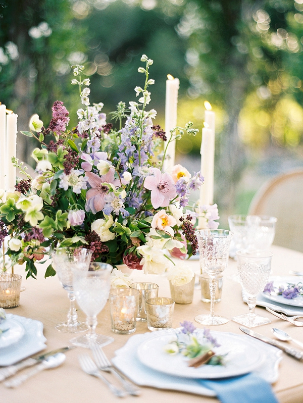 Spring Centerpiece | Classically Elegant Lavender Wedding Inspiration at San Ysidro Ranch by Jen Rodriguez Photography