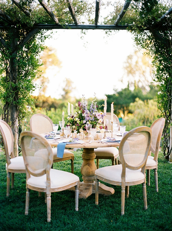 Outdoor Wedding Reception | Classically Elegant Lavender Wedding Inspiration at San Ysidro Ranch by Jen Rodriguez Photography