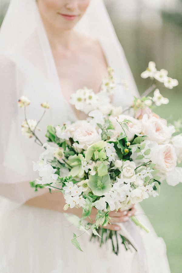 Ivory and Green Bouquet | Elegant Floral Wedding Inspiration By Elizabeth Fogarty Photography