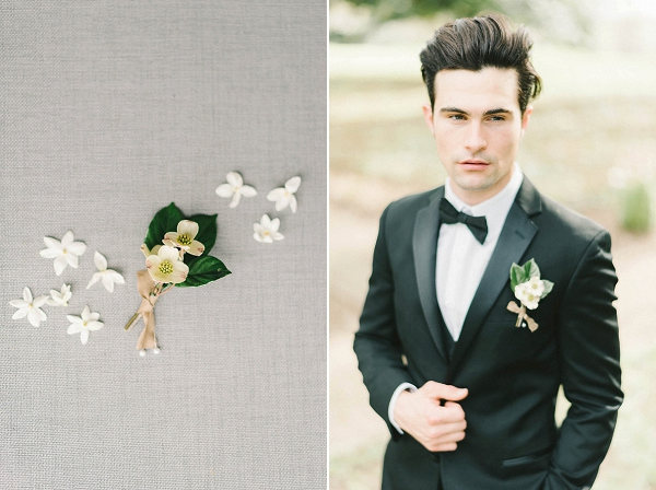Boutonniere for the Groom | Elegant Floral Wedding Inspiration By Elizabeth Fogarty Photography