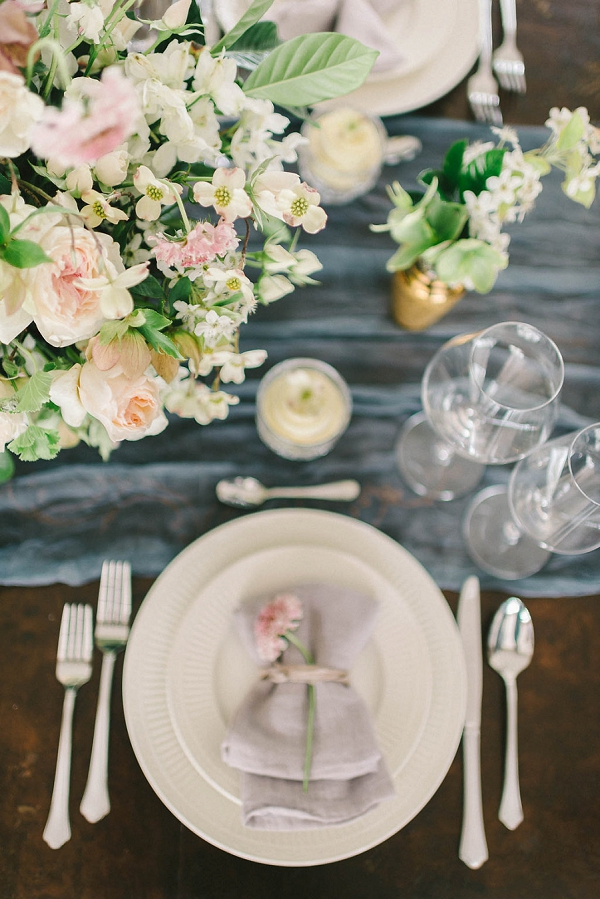Floral Centerpiece and Place Setting | Elegant Floral Wedding Inspiration By Elizabeth Fogarty Photography