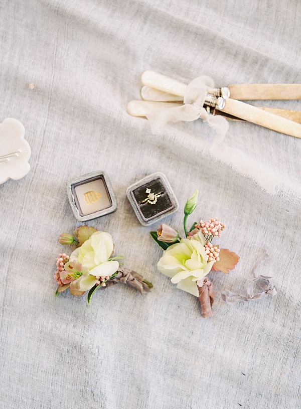 Boutonnieres and Engagement Ring | Enchanting Crystal Wedding Ideas from Lisa Catherine Photography