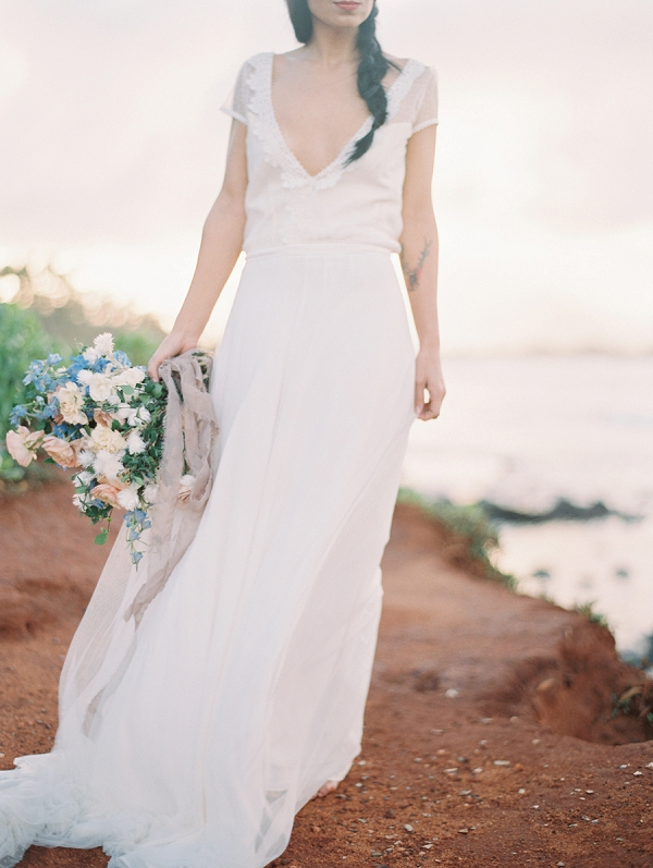 Tropical Wedding Dress Inspiration with Gowns By Christina Sfezi | Maui Bridal Portrait Ideas from Carmen Santorelli Photography