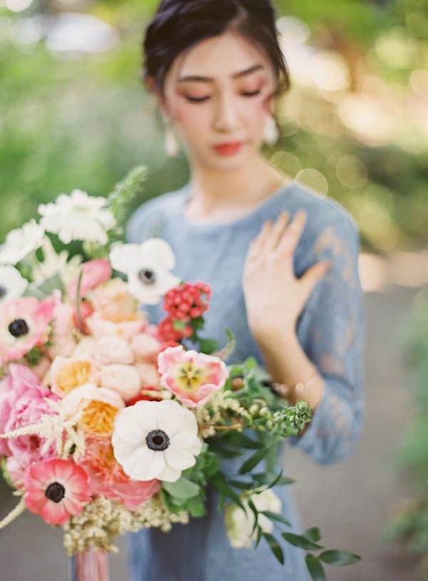 Bride with Bouquet | Monet Garden Wedding Inspiration by Nathalie Cheng